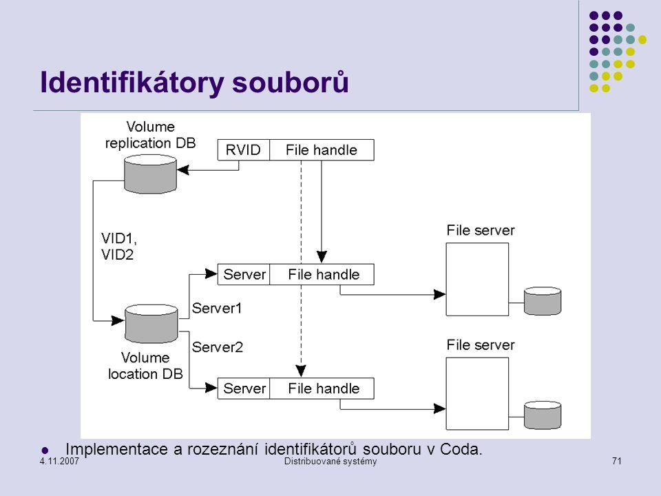 4.11.2007Distribuované systémy71 Identifikátory souborů Implementace a rozeznání identifikátorů souboru v Coda.