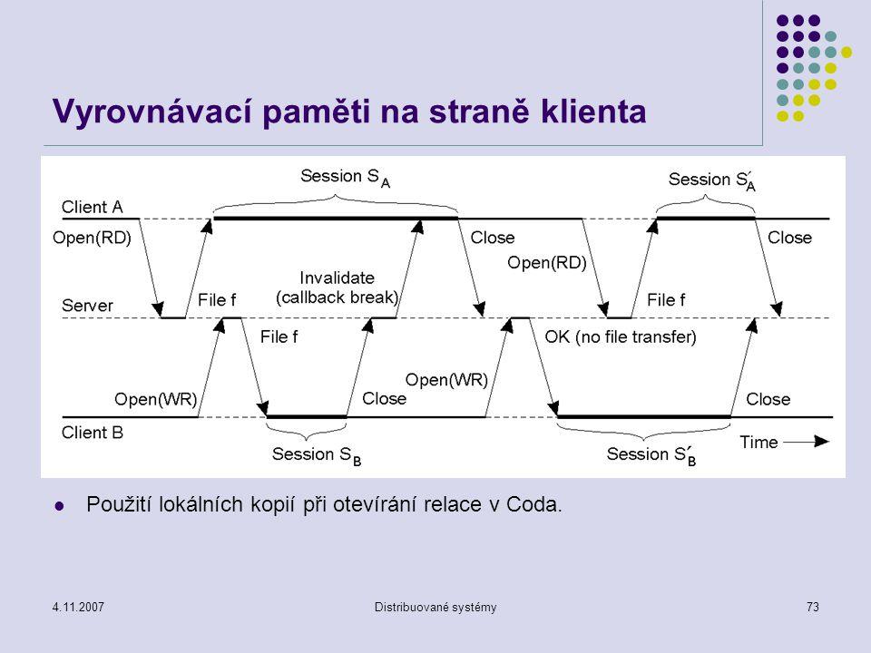 4.11.2007Distribuované systémy73 Vyrovnávací paměti na straně klienta Použití lokálních kopií při otevírání relace v Coda.