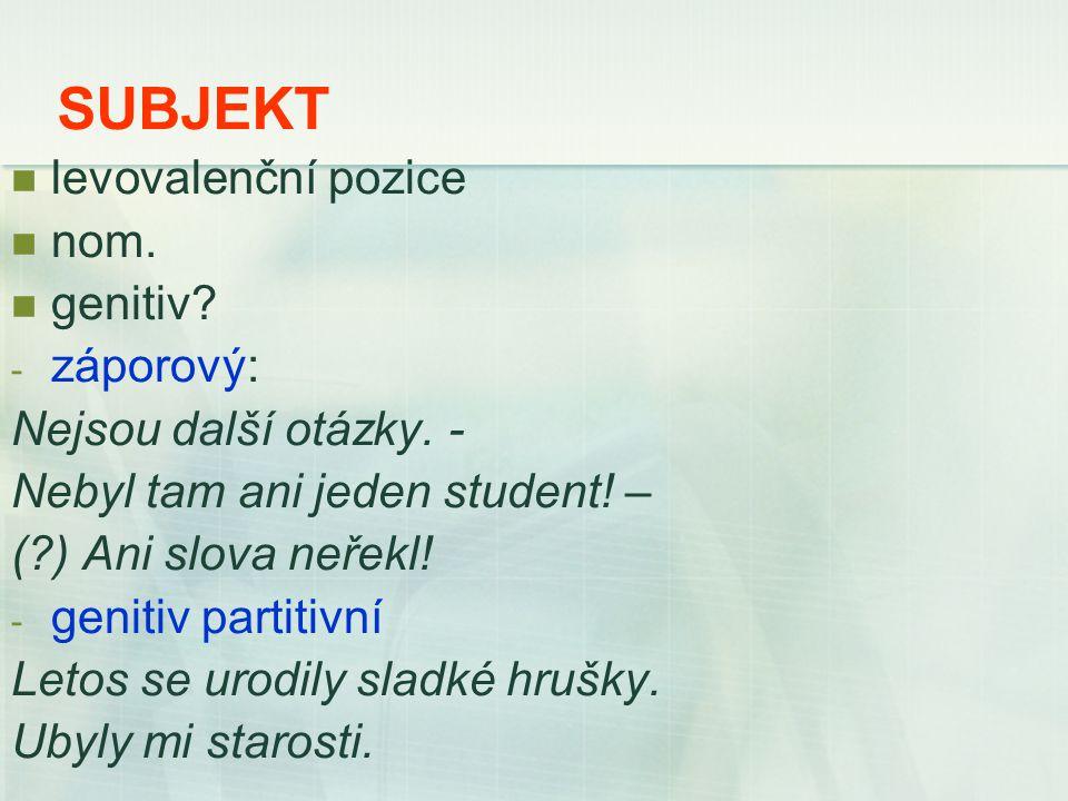 SUBJEKT levovalenční pozice nom. genitiv. - záporový: Nejsou další otázky.