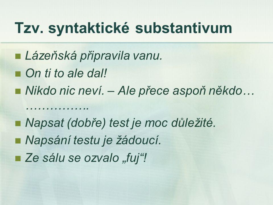 Tzv. syntaktické substantivum Lázeňská připravila vanu.