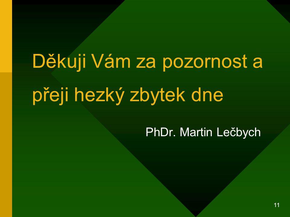 11 Děkuji Vám za pozornost a přeji hezký zbytek dne PhDr. Martin Lečbych