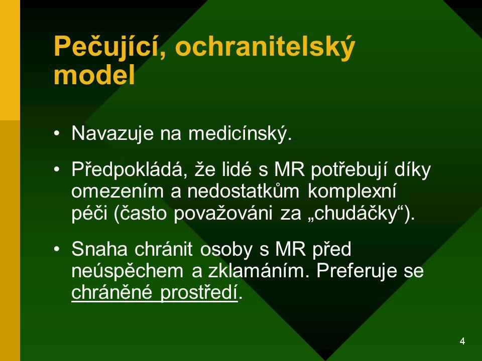 4 Pečující, ochranitelský model Navazuje na medicínský. Předpokládá, že lidé s MR potřebují díky omezením a nedostatkům komplexní péči (často považová