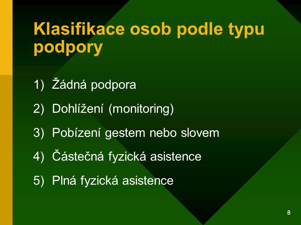 8 Klasifikace osob podle typu podpory 1)Žádná podpora 2)Dohlížení (monitoring) 3)Pobízení gestem nebo slovem 4)Částečná fyzická asistence 5)Plná fyzic