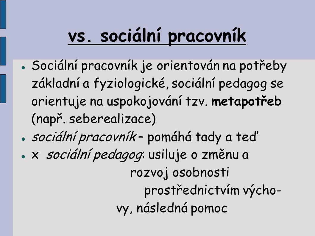 vs. sociální pracovník Sociální pracovník je orientován na potřeby základní a fyziologické, sociální pedagog se orientuje na uspokojování tzv. metapot