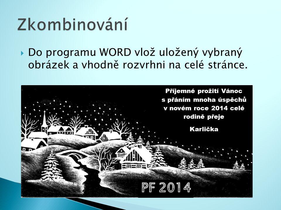  Do programu WORD vlož uložený vybraný obrázek a vhodně rozvrhni na celé stránce.