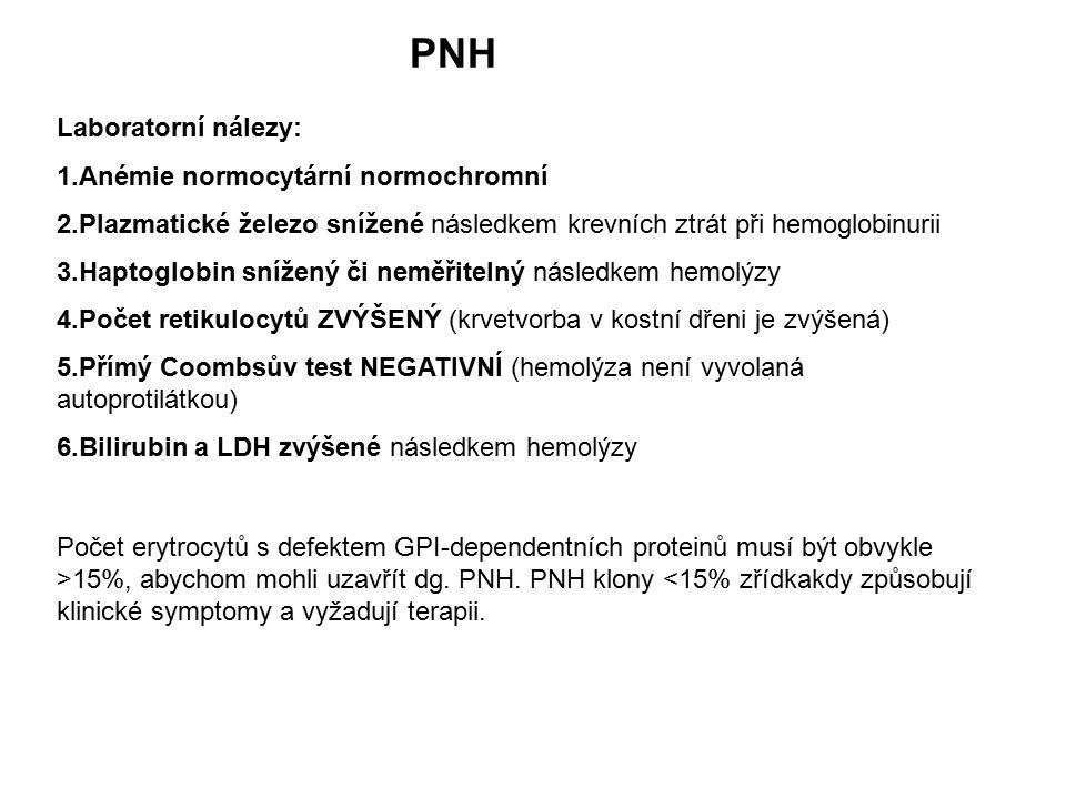 PNH Laboratorní nálezy: 1.Anémie normocytární normochromní 2.Plazmatické železo snížené následkem krevních ztrát při hemoglobinurii 3.Haptoglobin sníž