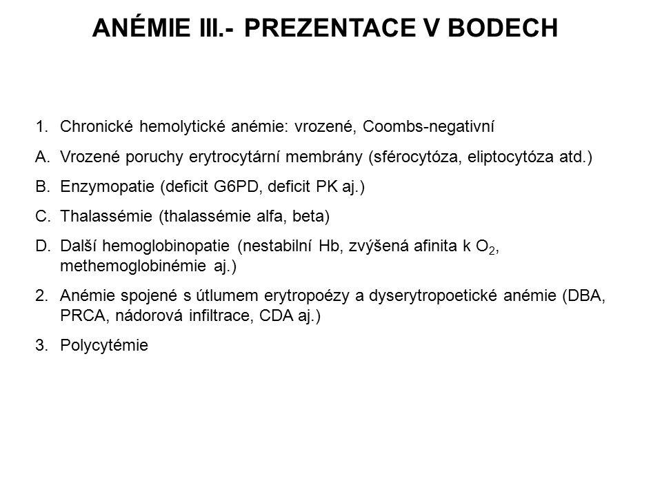ANÉMIE III.- PREZENTACE V BODECH 1.Chronické hemolytické anémie: vrozené, Coombs-negativní A.Vrozené poruchy erytrocytární membrány (sférocytóza, eliptocytóza atd.) B.Enzymopatie (deficit G6PD, deficit PK aj.) C.Thalassémie (thalassémie alfa, beta) D.Další hemoglobinopatie (nestabilní Hb, zvýšená afinita k O 2, methemoglobinémie aj.) 2.Anémie spojené s útlumem erytropoézy a dyserytropoetické anémie (DBA, PRCA, nádorová infiltrace, CDA aj.) 3.Polycytémie