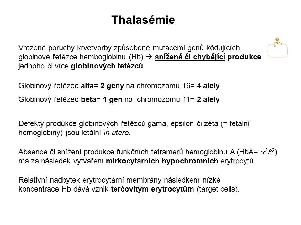 Thalasémie Vrozené poruchy krvetvorby způsobené mutacemi genů kódujících globinové řetězce hemboglobinu (Hb)  snížená či chybějící produkce jednoho č
