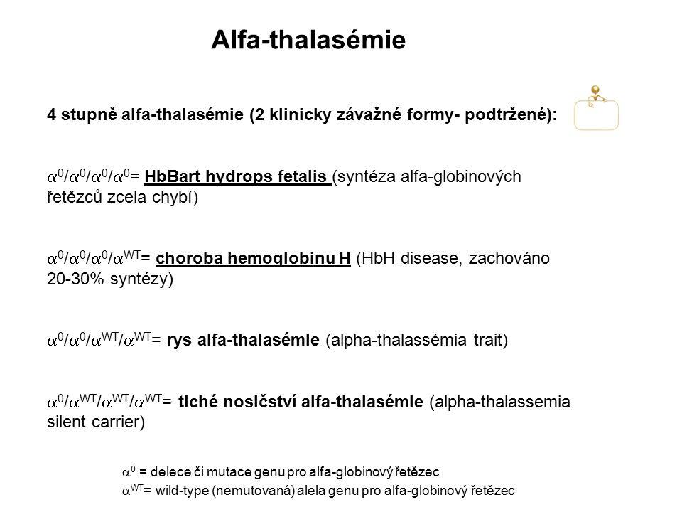Alfa-thalasémie 4 stupně alfa-thalasémie (2 klinicky závažné formy- podtržené):  0 /  0 /  0 /  0 = HbBart hydrops fetalis (syntéza alfa-globinový