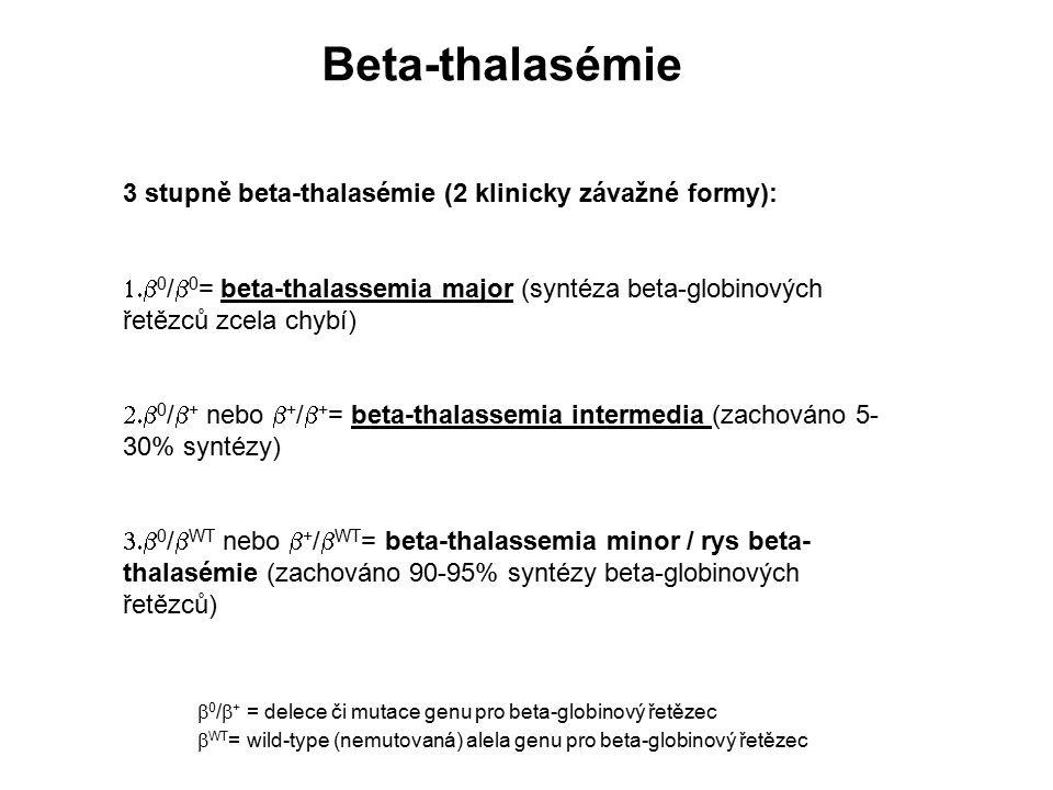 Beta-thalasémie 3 stupně beta-thalasémie (2 klinicky závažné formy):  0 /  0 = beta-thalassemia major (syntéza beta-globinových řetězců zcela chyb