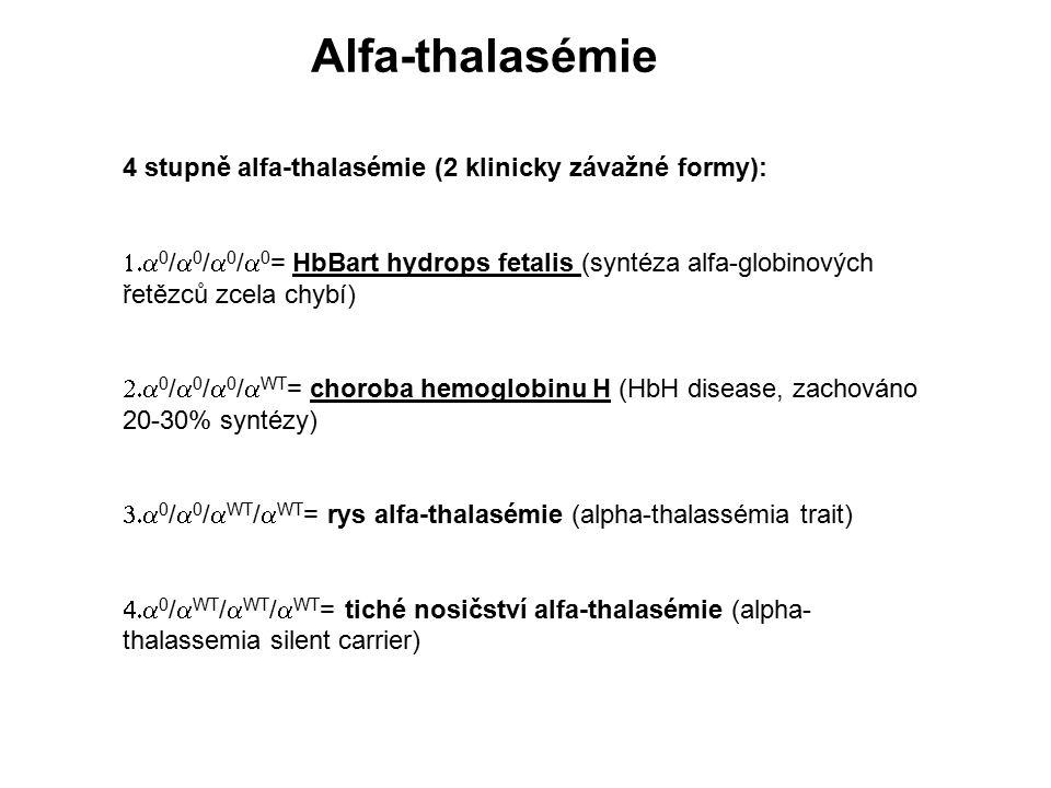 Alfa-thalasémie 4 stupně alfa-thalasémie (2 klinicky závažné formy):  0 /  0 /  0 /  0 = HbBart hydrops fetalis (syntéza alfa-globinových řetězc