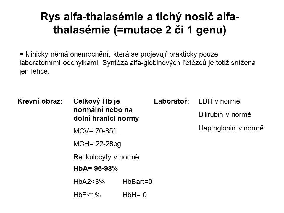 Rys alfa-thalasémie a tichý nosič alfa- thalasémie (=mutace 2 či 1 genu) Celkový Hb je normální nebo na dolní hranici normy MCV= 70-85fL MCH= 22-28pg