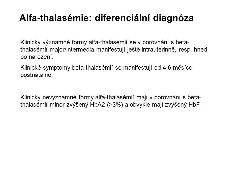 Klinicky nevýznamné formy alfa-thalasémií mají v porovnání s beta- thalasémií minor zvýšený HbA2 (>3%) a obvykle mají zvýšený HbF. Klinicky významné f