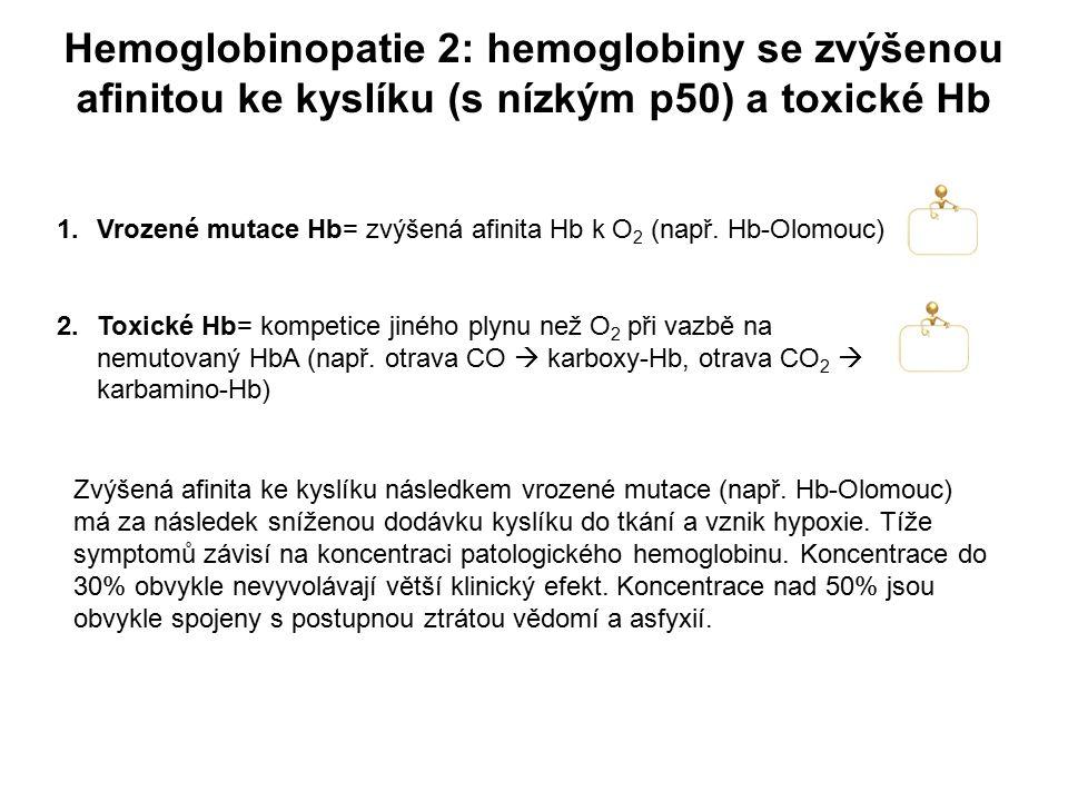 1.Vrozené mutace Hb= zvýšená afinita Hb k O 2 (např. Hb-Olomouc) 2.Toxické Hb= kompetice jiného plynu než O 2 při vazbě na nemutovaný HbA (např. otrav
