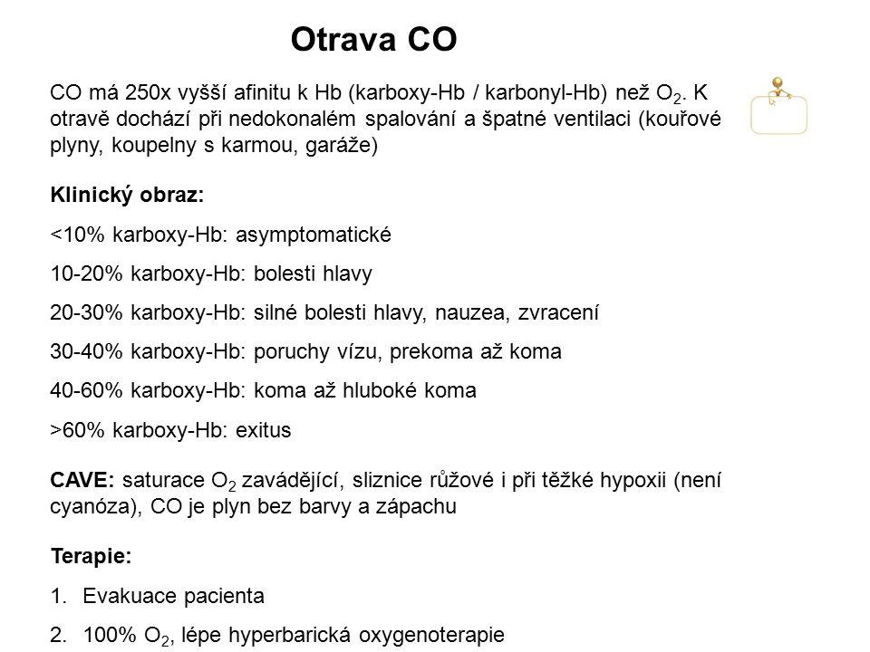 Otrava CO CO má 250x vyšší afinitu k Hb (karboxy-Hb / karbonyl-Hb) než O 2. K otravě dochází při nedokonalém spalování a špatné ventilaci (kouřové ply