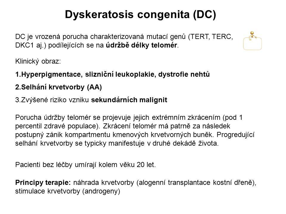 Dyskeratosis congenita (DC) Pacienti bez léčby umírají kolem věku 20 let. DC je vrozená porucha charakterizovaná mutací genů (TERT, TERC, DKC1 aj.) po