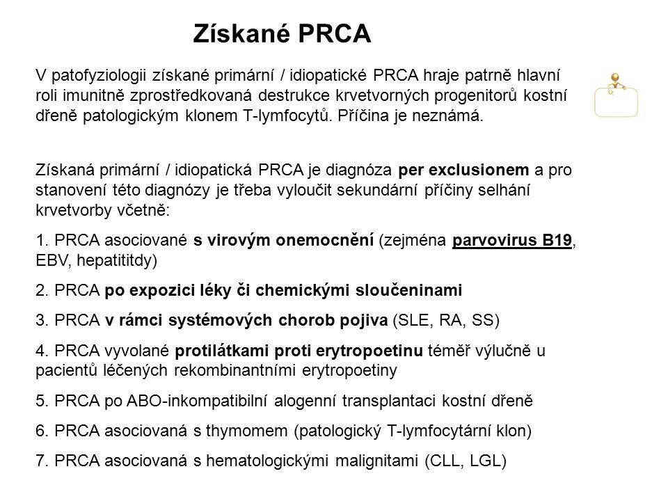 Získané PRCA Získaná primární / idiopatická PRCA je diagnóza per exclusionem a pro stanovení této diagnózy je třeba vyloučit sekundární příčiny selhán
