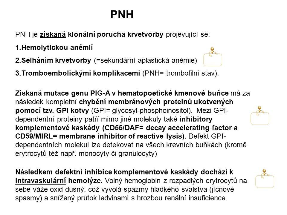 PNH PNH je získaná klonální porucha krvetvorby projevující se: 1.Hemolytickou anémií 2.Selháním krvetvorby (=sekundární aplastická anémie) 3.Tromboemb