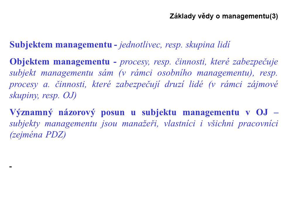Základy vědy o managementu(3) Subjektem managementu - jednotlivec, resp.