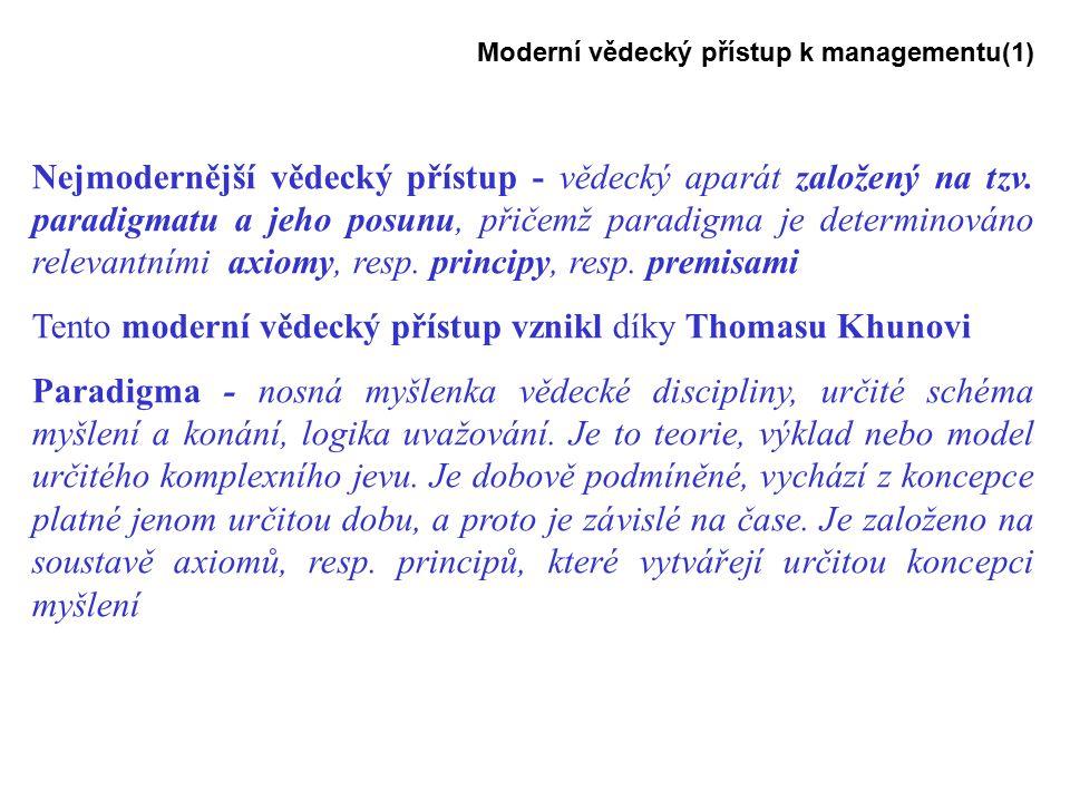 Moderní vědecký přístup k managementu(1) Nejmodernější vědecký přístup - vědecký aparát založený na tzv.