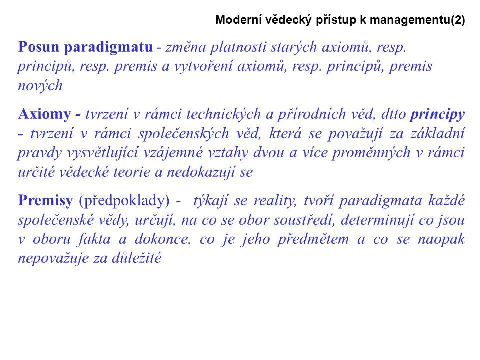 Moderní vědecký přístup k managementu(2) Posun paradigmatu - změna platnosti starých axiomů, resp.