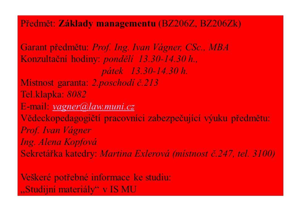 Předmět: Základy managementu (BZ206Z, BZ206Zk) Garant předmětu: Prof.