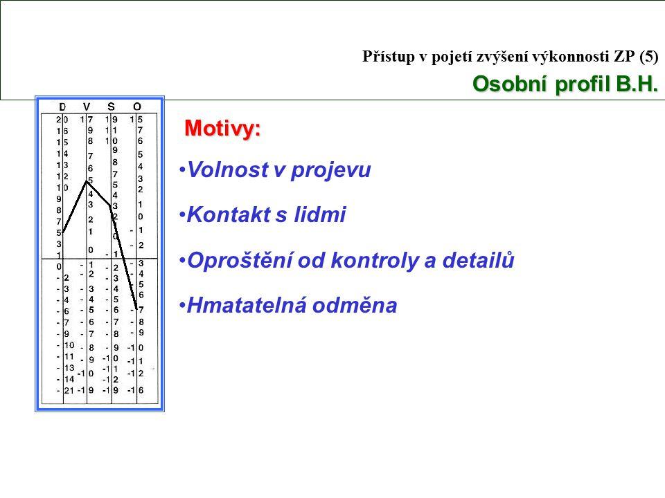 Osobní profil B.H.Přístup v pojetí zvýšení výkonnosti ZP (5) Osobní profil B.H.