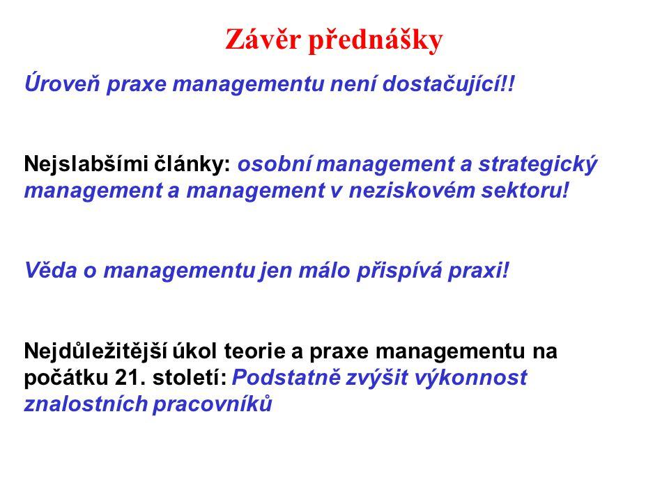 Závěr přednášky Úroveň praxe managementu není dostačující!.