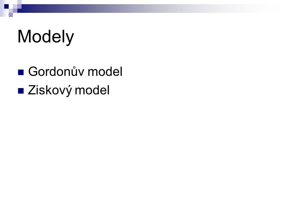 Modely Gordonův model Ziskový model