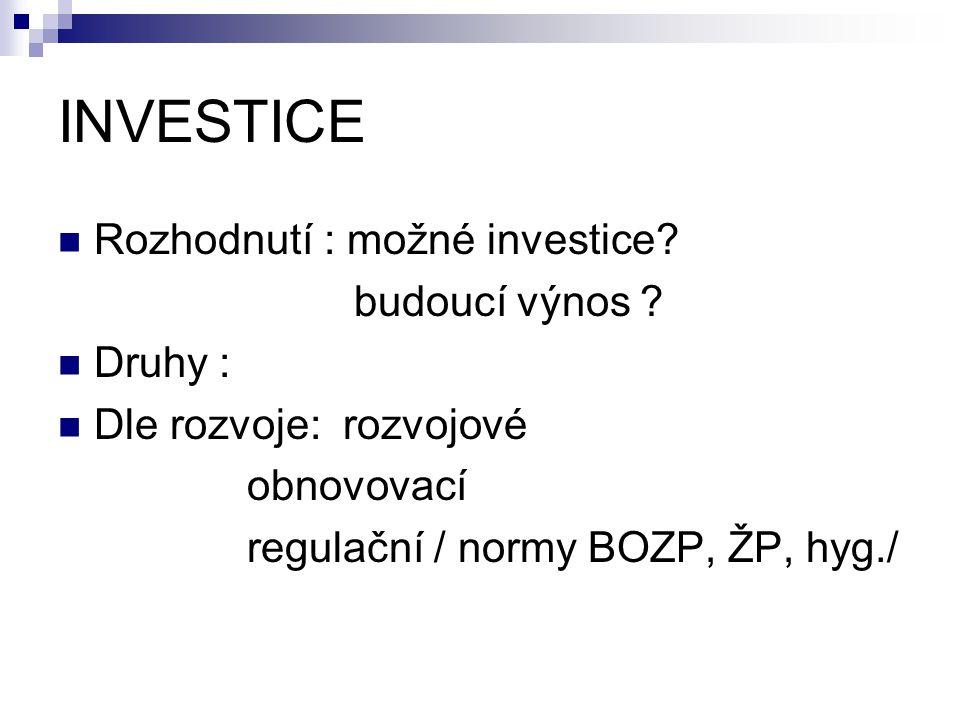INVESTICE Rozhodnutí : možné investice? budoucí výnos ? Druhy : Dle rozvoje: rozvojové obnovovací regulační / normy BOZP, ŽP, hyg./