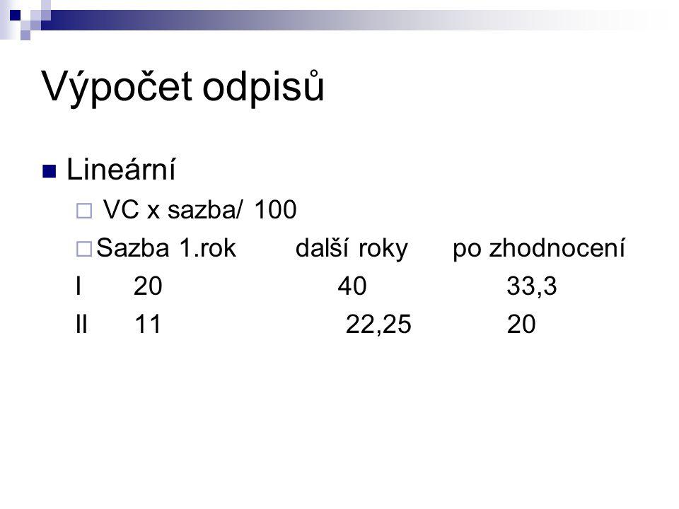 Výpočet odpisů Lineární  VC x sazba/ 100  Sazba 1.rok další roky po zhodnocení I 20 40 33,3 II 11 22,25 20