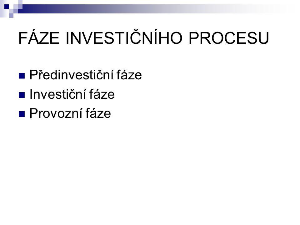 FÁZE INVESTIČNÍHO PROCESU Předinvestiční fáze Investiční fáze Provozní fáze
