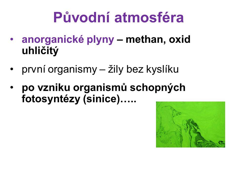Původní atmosféra anorganické plyny – methan, oxid uhličitý po vzniku organismů schopných fotosyntézy (sinice)…..