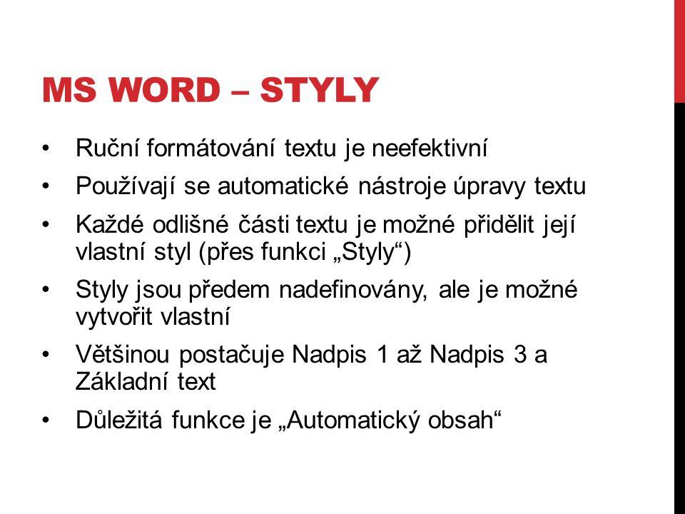 MS WORD – STYLY Ruční formátování textu je neefektivní Používají se automatické nástroje úpravy textu Každé odlišné části textu je možné přidělit její