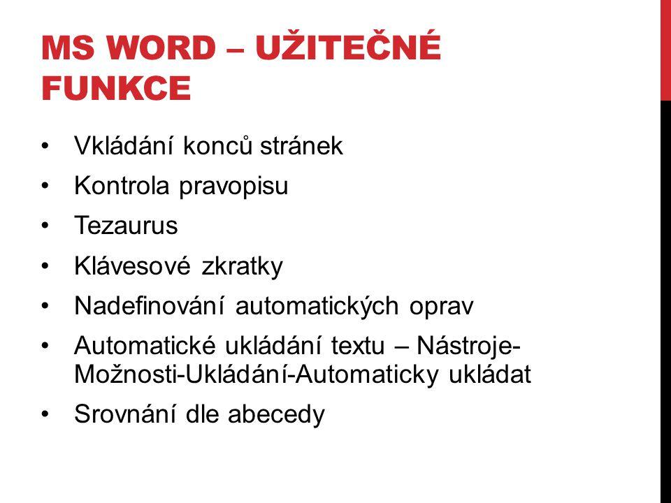 MS WORD – UŽITEČNÉ FUNKCE Vkládání konců stránek Kontrola pravopisu Tezaurus Klávesové zkratky Nadefinování automatických oprav Automatické ukládání t