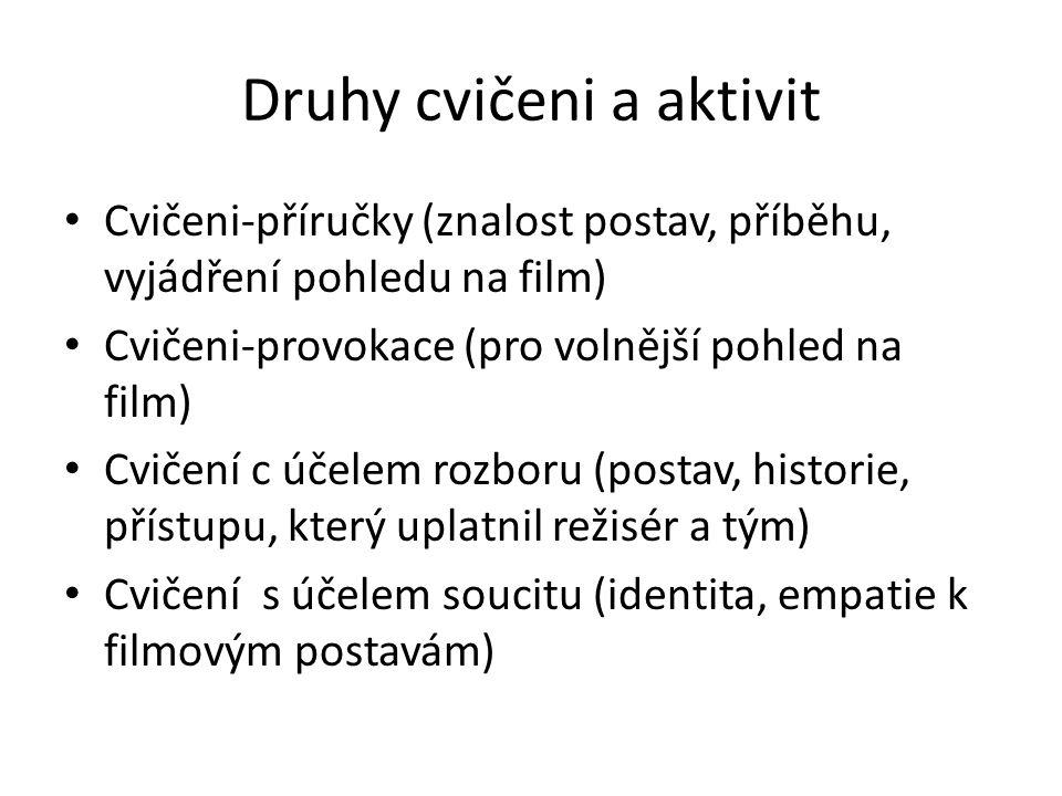 Druhy cvičeni a aktivit Cvičeni-příručky (znalost postav, příběhu, vyjádření pohledu na film) Cvičeni-provokace (pro volnější pohled na film) Cvičení c účelem rozboru (postav, historie, přístupu, který uplatnil režisér a tým) Cvičení s účelem soucitu (identita, empatie k filmovým postavám)