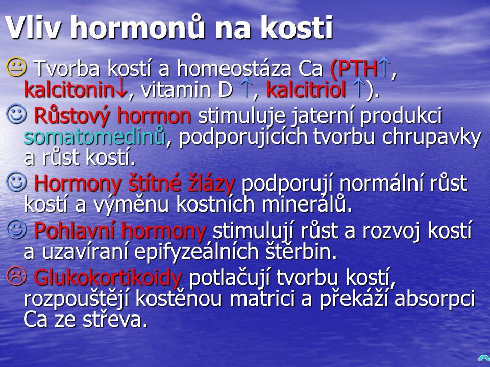 Vliv hormonů na kosti  Tvorba kostí a homeostáza Ca (PTH , kalcitonin , vitamin D , kalcitriol  ).