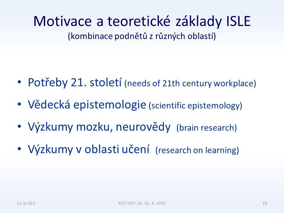 Motivace a teoretické základy ISLE (kombinace podnětů z různých oblastí) Potřeby 21.