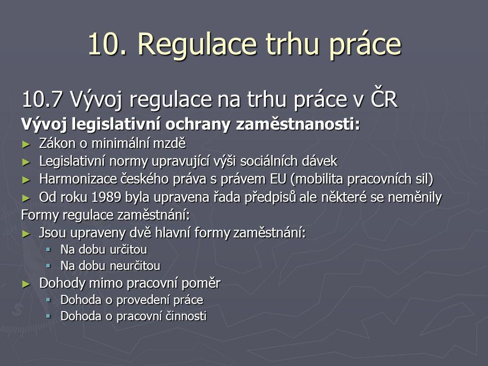 10. Regulace trhu práce 10.7 Vývoj regulace na trhu práce v ČR Vývoj legislativní ochrany zaměstnanosti: ► Zákon o minimální mzdě ► Legislativní normy