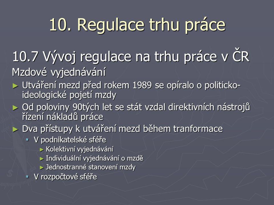 10. Regulace trhu práce 10.7 Vývoj regulace na trhu práce v ČR Mzdové vyjednávání ► Utváření mezd před rokem 1989 se opíralo o politicko- ideologické