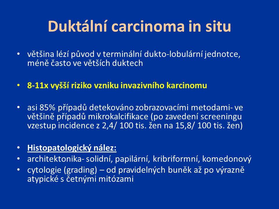Duktální carcinoma in situ většina lézí původ v terminální dukto-lobulární jednotce, méně často ve větších duktech 8-11x vyšší riziko vzniku invazivní