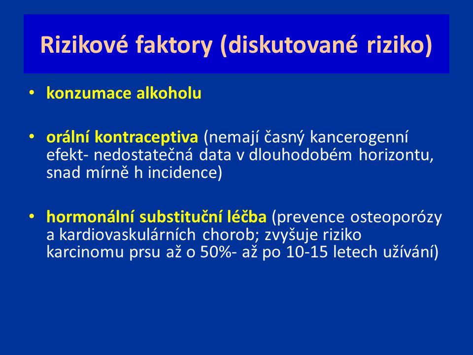 Rizikové faktory (diskutované riziko) konzumace alkoholu orální kontraceptiva (nemají časný kancerogenní efekt- nedostatečná data v dlouhodobém horizo