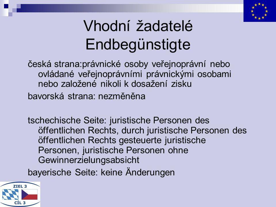 Vhodní žadatelé Endbegünstigte česká strana:právnické osoby veřejnoprávní nebo ovládané veřejnoprávními právnickými osobami nebo založené nikoli k dos
