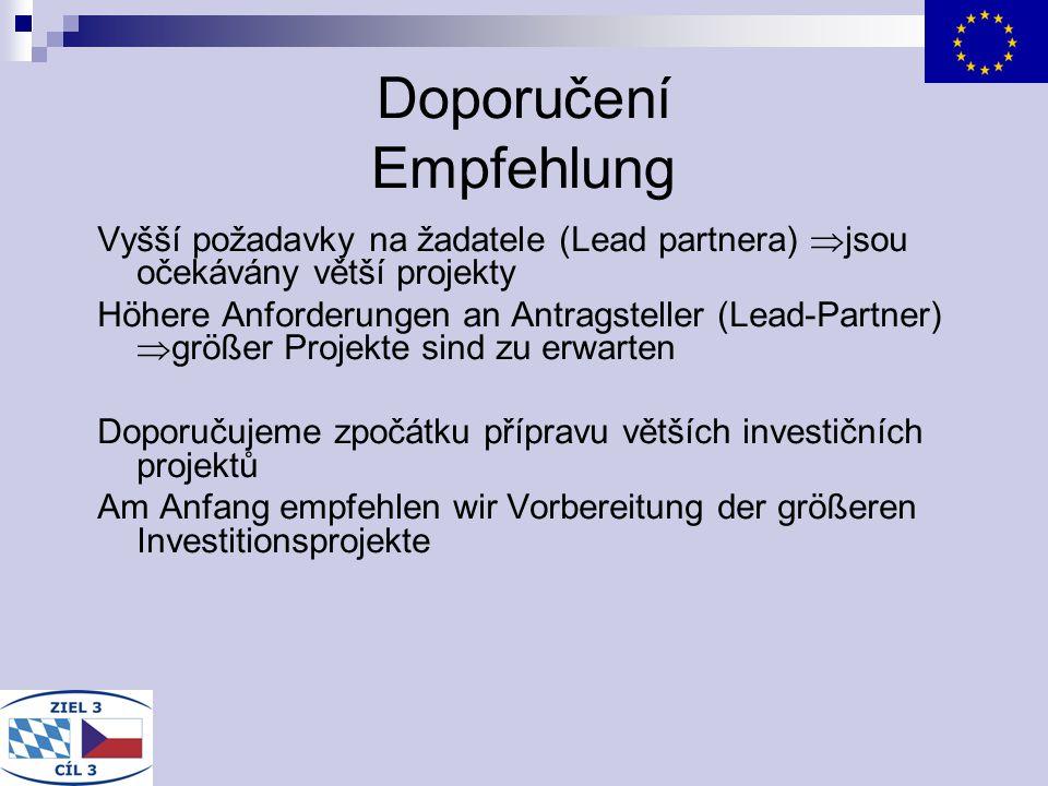 Doporučení Empfehlung Vyšší požadavky na žadatele (Lead partnera) jsou očekávány větší projekty Höhere Anforderungen an Antragsteller (Lead-Partner) g