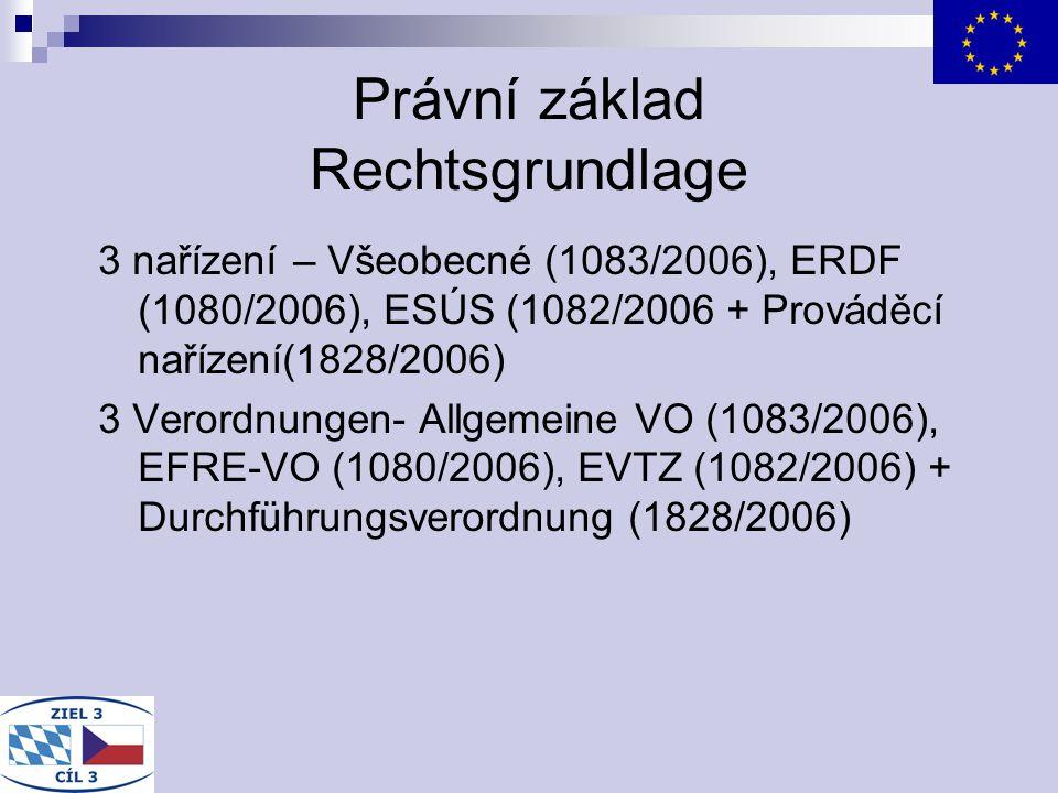 Právní základ Rechtsgrundlage 3 nařízení – Všeobecné (1083/2006), ERDF (1080/2006), ESÚS (1082/2006 + Prováděcí nařízení(1828/2006) 3 Verordnungen- Al