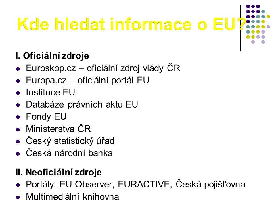 I. Oficiální zdroje  Euroskop.cz – oficiální zdroj vlády ČR  Europa.cz – oficiální portál EU  Instituce EU  Databáze právních aktů EU  Fondy EU 