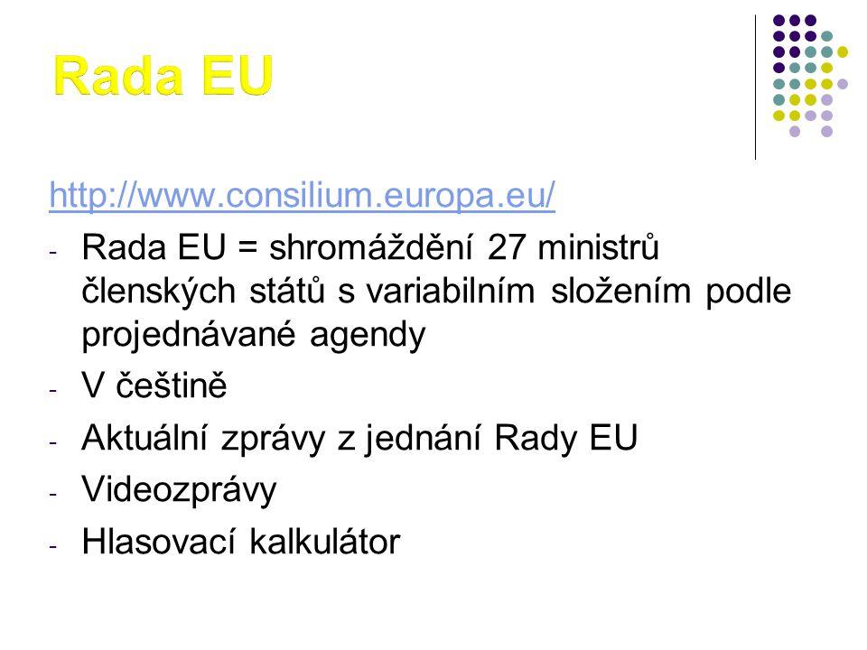 http://www.consilium.europa.eu/ - Rada EU = shromáždění 27 ministrů členských států s variabilním složením podle projednávané agendy - V češtině - Aktuální zprávy z jednání Rady EU - Videozprávy - Hlasovací kalkulátor