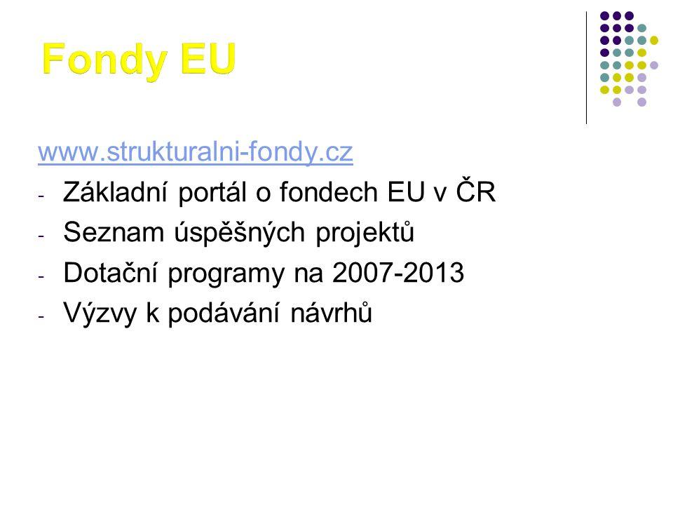 www.strukturalni-fondy.cz - Základní portál o fondech EU v ČR - Seznam úspěšných projektů - Dotační programy na 2007-2013 - Výzvy k podávání návrhů