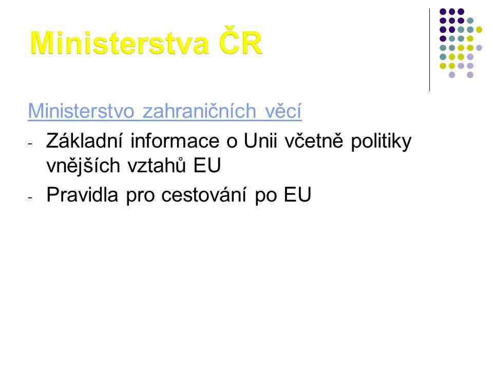 Ministerstvo zahraničních věcí - Základní informace o Unii včetně politiky vnějších vztahů EU - Pravidla pro cestování po EU