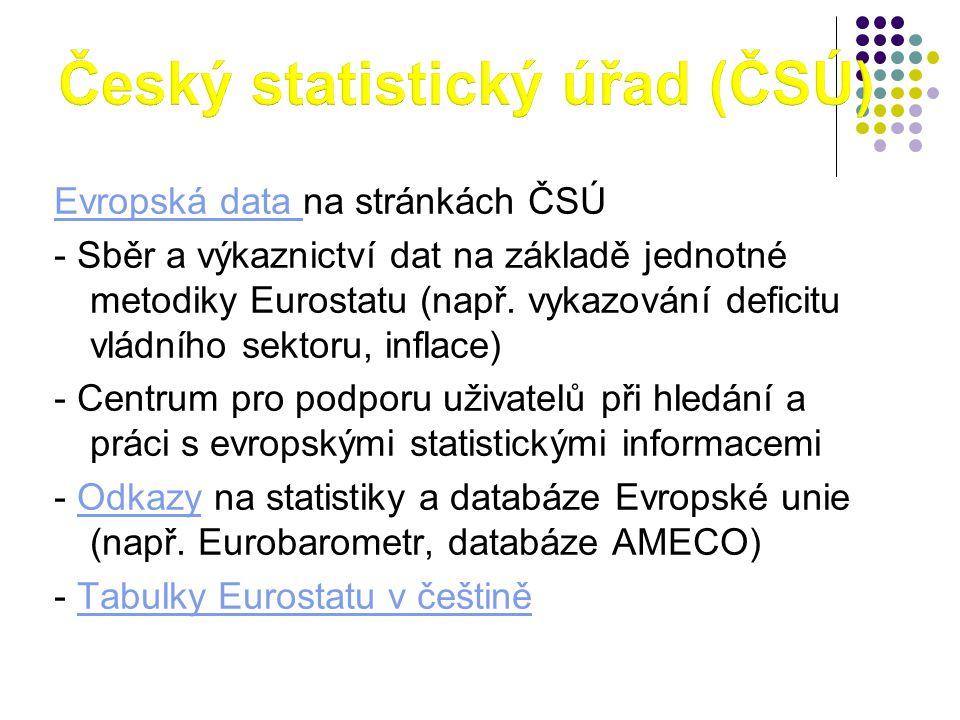 Evropská data Evropská data na stránkách ČSÚ - Sběr a výkaznictví dat na základě jednotné metodiky Eurostatu (např. vykazování deficitu vládního sekto